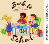 school lunch colorful poster | Shutterstock .eps vector #1150520768