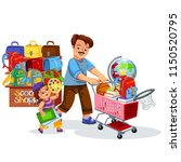 school shopping with dad poster   Shutterstock .eps vector #1150520795