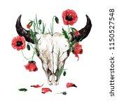 animal skull with flowers....   Shutterstock . vector #1150527548
