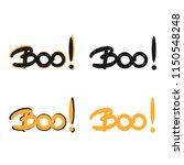 cute boo  hand drawn lettering...   Shutterstock .eps vector #1150548248