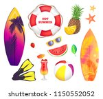 hot summer banner  beach party... | Shutterstock .eps vector #1150552052