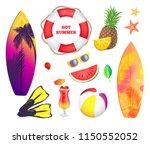 hot summer banner  beach party... | Shutterstock .eps vector #1150552052