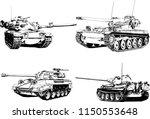 powerful tank with a gun drawn... | Shutterstock .eps vector #1150553648
