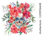 watercolor skull with red... | Shutterstock . vector #1150556648