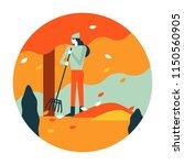 gardener woman raking up autumn ... | Shutterstock .eps vector #1150560905