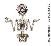 human skeleton decorated with... | Shutterstock . vector #1150576682