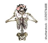human skeleton decorated with... | Shutterstock . vector #1150576688