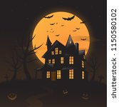 vector haunted house background | Shutterstock .eps vector #1150580102