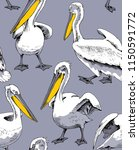 seamless pattern. pelicans with ...   Shutterstock .eps vector #1150591772