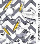 seamless pattern. pelicans with ...   Shutterstock .eps vector #1150591775