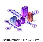 violet set 3d futuristic... | Shutterstock .eps vector #1150610195