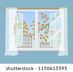 open window with curtains on a... | Shutterstock .eps vector #1150615595
