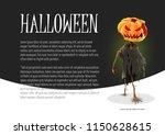 scary halloween pumpkin... | Shutterstock .eps vector #1150628615