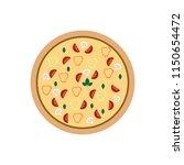 vector flat pizza on white... | Shutterstock .eps vector #1150654472