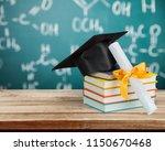 graduation mortarboard and... | Shutterstock . vector #1150670468