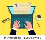 the writer writes on the...   Shutterstock .eps vector #1150689452