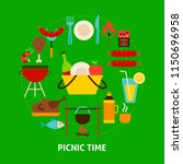 picnic time postcard. poster... | Shutterstock .eps vector #1150696958