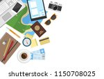 vector flat lay vacation or... | Shutterstock .eps vector #1150708025