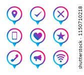 colorful circle pin icon set....