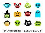 vector cartoon set of halloween ... | Shutterstock .eps vector #1150711775