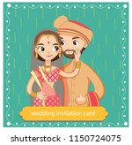 cute indian couple in... | Shutterstock .eps vector #1150724075