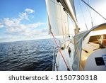 a view from the yacht's deck to ... | Shutterstock . vector #1150730318