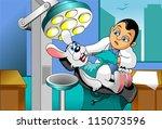small gray rabbit at a... | Shutterstock .eps vector #115073596