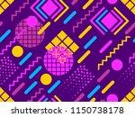 memphis seamless pattern.... | Shutterstock .eps vector #1150738178