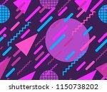memphis seamless pattern.... | Shutterstock .eps vector #1150738202