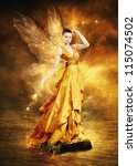 Magical Young Woman As Golden...