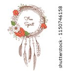 dream catcher with feathers and ... | Shutterstock .eps vector #1150746158