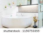 modern bathroom interior with... | Shutterstock . vector #1150753355