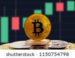 bitcoin btc on stack of... | Shutterstock . vector #1150754798