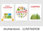 camping trip cards set. hiking... | Shutterstock .eps vector #1150760528