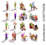 set of isometric elderly people ... | Shutterstock .eps vector #1150776428