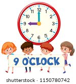 children and clock 9 o'clock... | Shutterstock .eps vector #1150780742