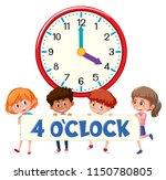children and clock 4 o'clock... | Shutterstock .eps vector #1150780805