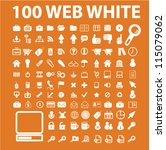100 white media icons set ... | Shutterstock .eps vector #115079062