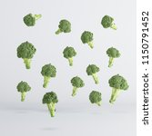 broccoli vegetable floating on... | Shutterstock . vector #1150791452