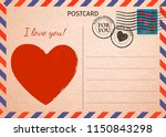 postcard. red heart and words i ... | Shutterstock . vector #1150843298