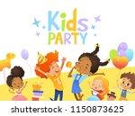 joyous multiracial kids in... | Shutterstock .eps vector #1150873625