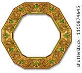 frame gold color with emeralds... | Shutterstock .eps vector #1150874645