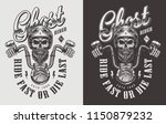 motorcycle emblem with skull.... | Shutterstock .eps vector #1150879232