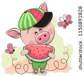 cute cartoon pig in a cap with... | Shutterstock .eps vector #1150892828