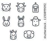 animal head line icons | Shutterstock .eps vector #1150899092