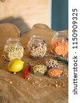 raw cereals set on wooden...   Shutterstock . vector #1150909325