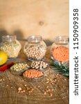 raw cereals set on wooden...   Shutterstock . vector #1150909358