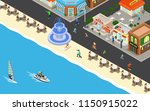 outdoor cafe on the beach | Shutterstock .eps vector #1150915022