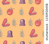 halloween. seamless pattern.... | Shutterstock .eps vector #1150920458