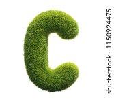 grass font 3d rendering letter c | Shutterstock . vector #1150924475